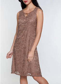 Lace Keyhole Shift Dress - 8375062701090