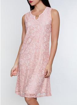 Lace Keyhole Shift Dress - 8375062701090