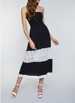 Crochet Insert Strapless Maxi Dress - 8375063509204