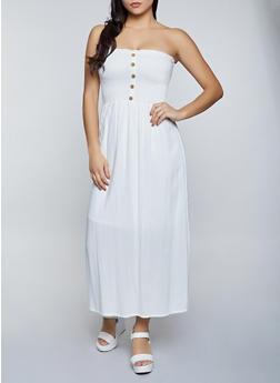 Smocked Button Detail Maxi Dress - 8375063509205