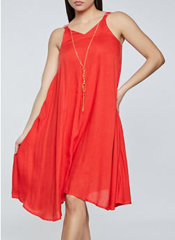 Sleeveless Shift Dress with Necklace - 8375063509217