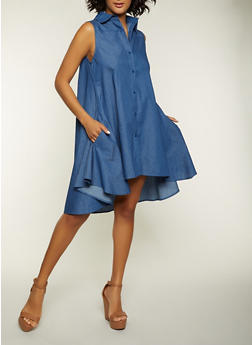 Button Front High Low Chambray Dress - 8375074730526