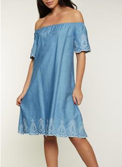 Embroidered Trim Off the Shoulder Dress - 8375074734405