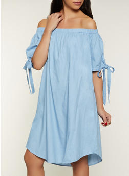 Tie Sleeve Off the Shoulder Chambray Dress - 8375074735807