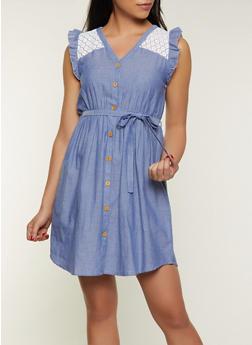 Crochet Yoke Chambray Button Front Dress - 8375075173132