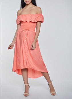Smocked Ruffle Off the Shoulder Dress - 8375075173134