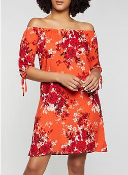 Tie Sleeve Floral Off the Shoulder Dress - 8376020622947