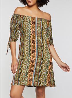 Border Print Tie Sleeve Off the Shoulder Dress - 8376020623947
