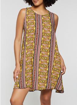 Paisley Border Print Shift Dress - 8376020625783
