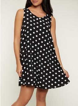 Sleeveless Polka Dot Trapeze Dress - 8376020628135