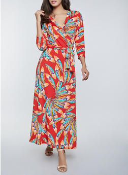 Feather Print Faux Wrap Maxi Dress - 8376020628562