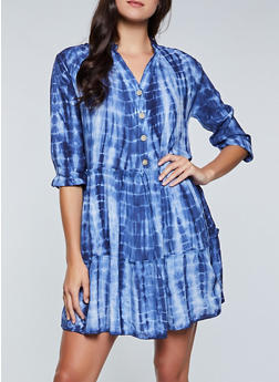 Tie Dye Half Button Dress - 8376056121055