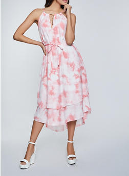 Tiered Tie Dye High Low Dress - 8376056121207