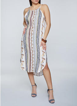 Border Print Shift Dress - 8376061638602