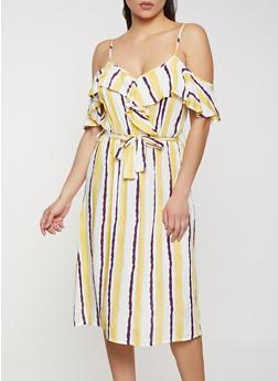 Striped Faux Wrap Cold Shoulder Dress - 8376063502292