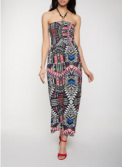 Printed Beaded Halter Neck Dress - 8376063508001