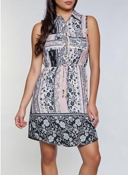 Half Button Border Print Sleeveless Dress - 8376063509213