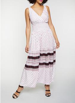 Border Print Smocked Waist Maxi Dress - 8376063509216