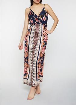 Floral Border Print Maxi Dress - 8376063509219