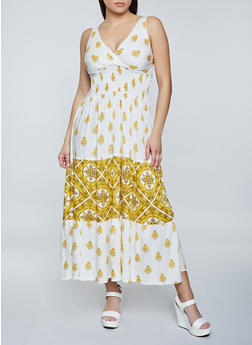 Border Print Sleeveless Maxi Dress - 8376063509220