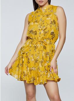 Floral Half Button Sleeveless Dress - 8376063509237