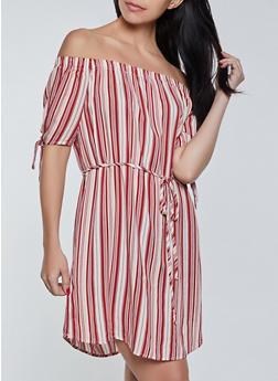 Off the Shoulder Striped Tie Waist Dress - 8376074734355