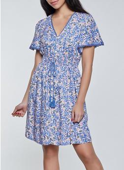 Floral Crochet Trim Skater Dress - 8376075173106