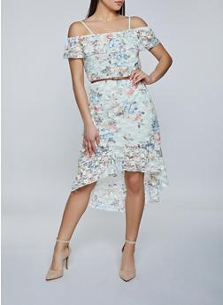 High Low Floral Lace Dress - 8376075173256