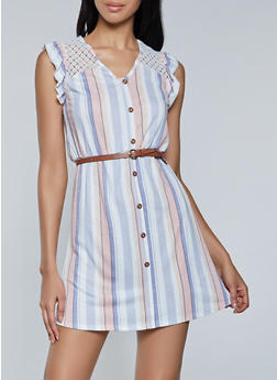 Belted Crochet Yoke Striped Dress - 8376075173316