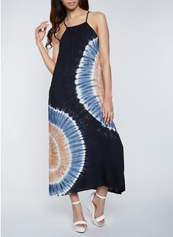 Tie Dye Button Back Maxi Dress - 8376076020013