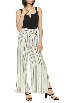 Textured Knit Striped Wide Leg Jumpsuit - 8378015993131
