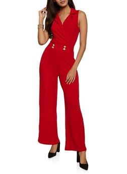 Collared Faux Wrap Palazzo Jumpsuit - 8378015997202