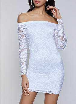Off the Shoulder Scalloped Lace Bodycon Dress - 8379054261787