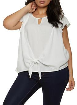 Plus Size Tie Front Flutter Sleeve Top - 8406020623599