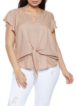 Plus Size Tie Front Flutter Sleeve Top - 8406020623599