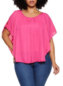 Plus Size Open Shoulder Overlay Top - 8406020624599