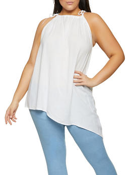 Plus Size Tie Shoulder Asymmetrical Top - 8406020627275