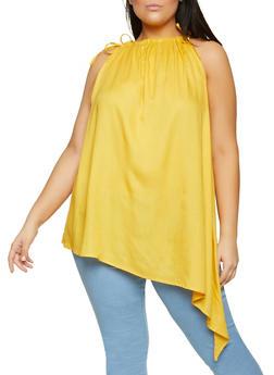 Plus Size Tie Shoulder Asymmetrical Top - 8406020627275