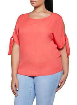 Plus Size Tie Sleeve Cold Shoulder Blouse - 8406020629728