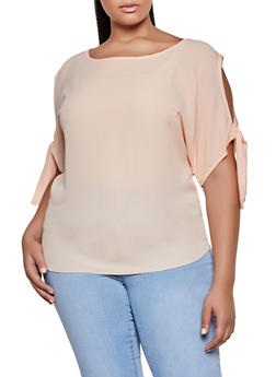 Plus Size Tie Sleeve Cold Shoulder Blouse - 8406020629728