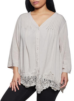 Plus Size Crochet Trim Button Front Blouse - 8406030842009