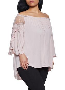 Plus Size Off the Shoulder Split Sleeve Top - 8406030844475