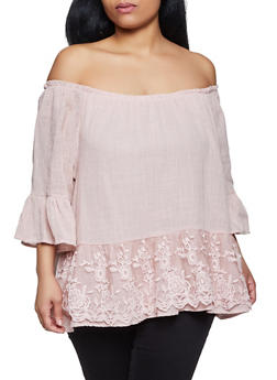 Plus Size Off the Shoulder Embroidered Mesh Trim Top - 8406030844980