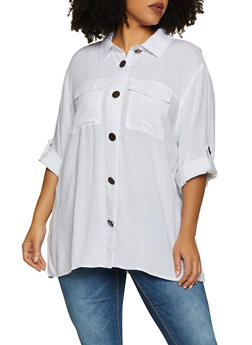 Plus Size Tabbed Sleeve Button Front Shirt - 8406051061166
