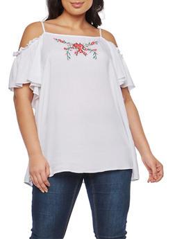Plus Size Floral Embroidered Cold Shoulder Top - 8406051069650