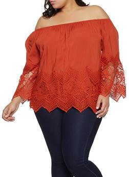 Plus Size Off the Shoulder Crochet Detail Top - 8406051069860
