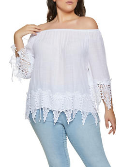 Plus Size Off the Shoulder Crochet Trim Top - 8406056120020