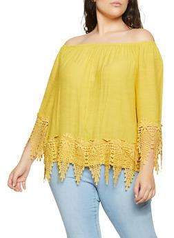 Plus Size Off the Shoulder Crochet Trim Top - 8406056120020