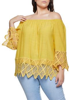Plus Size Crochet Detail Off the Shoulder Top | 8406056120021 - 8406056120021