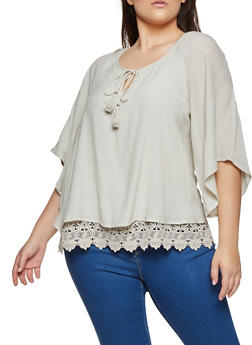Plus Size Gauze Knit Top - 8406056120022
